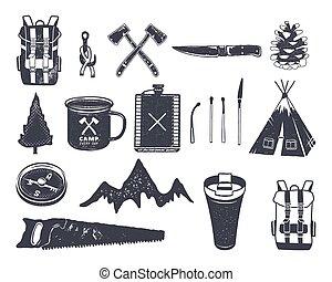 vendange, main, dessiné, aventure, randonnée, camping,...
