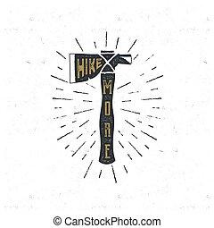 vendange, main, dessiné, camp, axe., aventure, chemise t,...