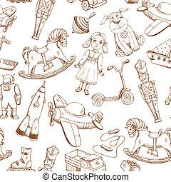 vendange, main, dessiné, modèle, jouets