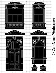 vendange, maison, architectural, plan