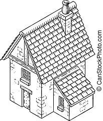 vendange, maison, bâtiment, woodcut, icône, carte, petite maison