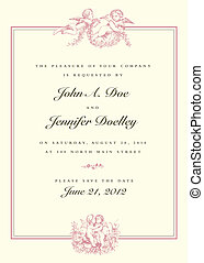 vendange, mariage, vecteur, cupidon, invitation