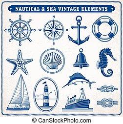vendange, mer, illustration, nautique