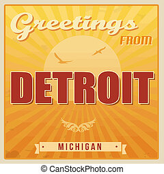 vendange, michigan, détroit, affiche