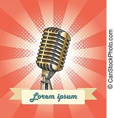 vendange, microphone, bannière, dessin, main