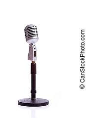 vendange, microphone, blanc