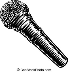 vendange, microphone, gravé, style, woodcut