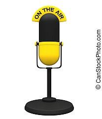 vendange, microphone, jaune