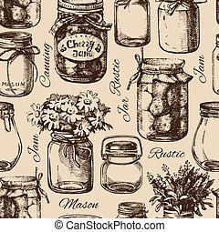 vendange, mise en conserve, pot., rustique, seamless, maçon, modèle, dessiné, main