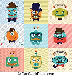vendange, mode, hipster, robots, mignon