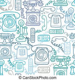 vendange, moderne, seamless, téléphones, modèle fond