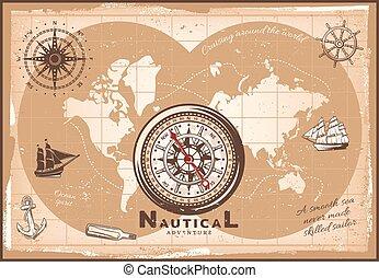 vendange, mondiale, nautique, gabarit, carte
