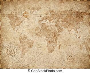 vendange, mondiale, vieux, illustration, carte