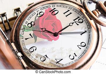 vendange, montre poche, à, rose rouge