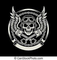 vendange, motard, ailes, crâne