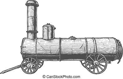 vendange, moteur, vapeur, mobile