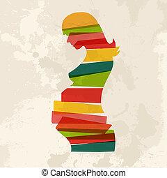 vendange, multicolore, femme, pregnant