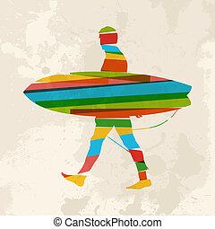 vendange, multicolore, surfeur