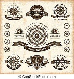 vendange, nautique, étiquettes, ensemble