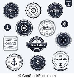 vendange, nautique, étiquettes