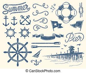 vendange, nautique, ensemble