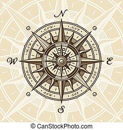 vendange, nautique, rose, compas