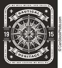 vendange, nautique, typographie, arrière-plan noir, héritage