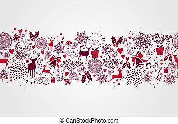 vendange, noël, éléments, reindeers, et, formes coeur, seamless, modèle, arrière-plan., eps10, vecteur, fichier, organisé, dans, couches, pour, facile, editing.