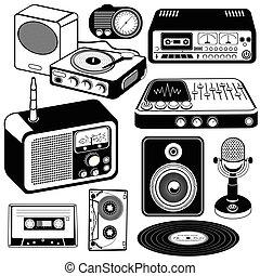 vendange, noir, 2, musique, icônes