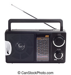 vendange, noir, radio, écouter, à, isolé, station, vagues