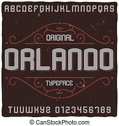 """vendange, nommé, oeil caractère, étiquette, """"orlando""""."""