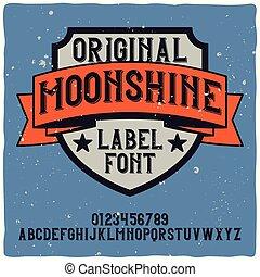 """vendange, nommé, oeil caractère, """"moonshine""""., étiquette"""
