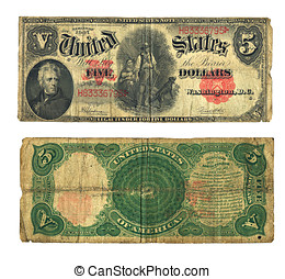 vendange, note, dollar, devise usa, cinq