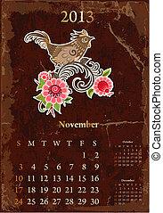 vendange, novembre, retro, calendrier, 2013