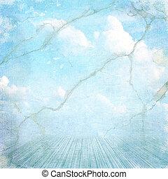 vendange, nuages, fond, textured