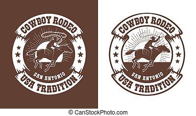 vendange, occidental, cavalier, -, cow-boy, emblème, lasso, rodéo