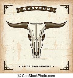 vendange, occidental, crâne, taureau