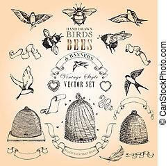 vendange, oiseaux, abeilles, et, bannières