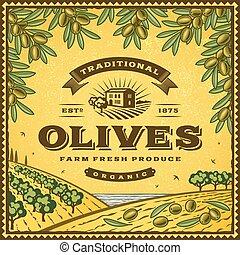 vendange, olives, étiquette