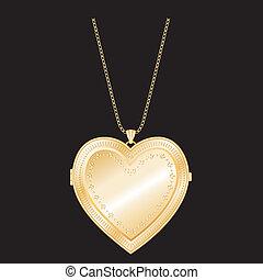 vendange, or, médaillon, chaîne, coeur