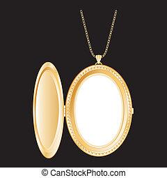 vendange, or, médaillon, collier, chaîne