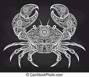 vendange, orné, crabe, tableau noir