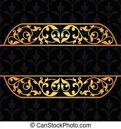 vendange, ornament., arrière-plan noir, or
