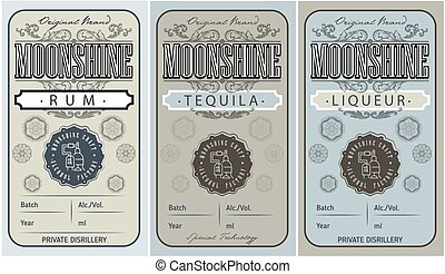 vendange, ou, étiquette, blanc, logo, ethnique, conception, ...