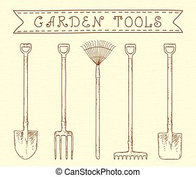 vendange, outils, jardin