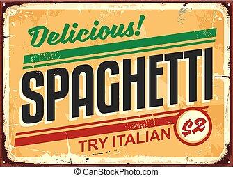 vendange, panneau signe, délicieux, annoncer, spaghetti, repas