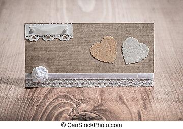 vendange, papier, bois, carte, invitation