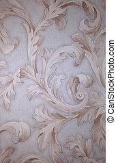 vendange, papier peint, gris, vignette, victorien, beige, baroque