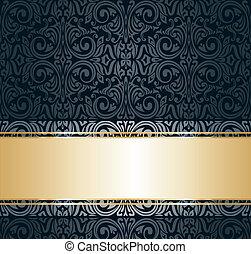 vendange, papier peint, noir, or, &