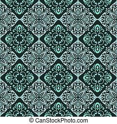 vendange, papier peint, pattern., seamless, vecteur, vert, floral